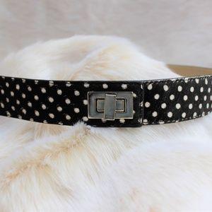 Polka Dot Calf Hair Belt with Silver Hardware